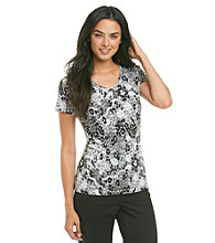 Laura Ashley® Petites' Animal Lace Print Shine Tee