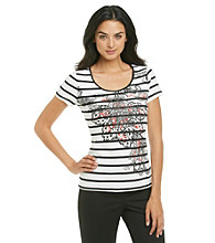 Laura Ashley® Striped Graphic Print Tee