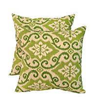 Greendale Home Fashions Set of Two Green Ikat Outdoor Accent Pillows