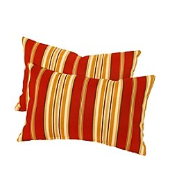 Greendale Home Fashions Set of Two Roma Stripe Rectangle Outdoor Accent Pillows