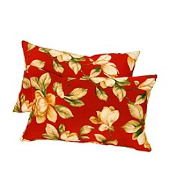 Greendale Home Fashions Set of Two Roma Floral Rectangle Outdoor Accent Pillows