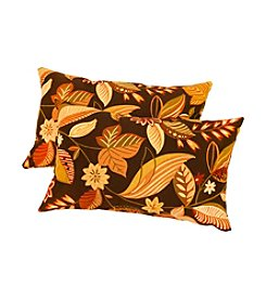 Greendale Home Fashions Set of Two Timberland Floral Rectangle Outdoor Accent Pillows