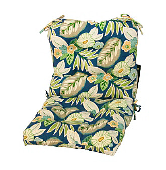 Greendale Home Fashions Blue Floral Outdoor Seat or Back Cha