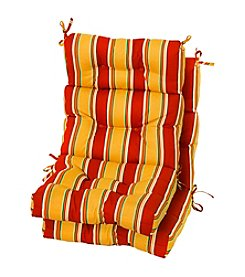 Greendale Home Fashions Set of Two Carnival Stripe Outdoor High Back Chair Cushions