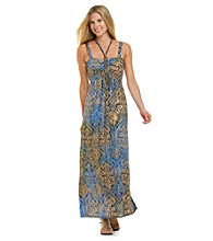 R & M Richards® Halter Necklace Print Maxi Dress