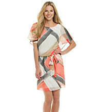S.L. Fashions Graphic Print Chiffon Blouson Dress