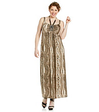 R & M Richards® Plus Size Halter Necklace Print Maxi Dress