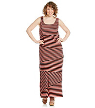 R & M Richards® Plus Size Asymmetric Stripe Maxi Dress