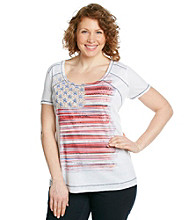 Oneworld® Plus Size Scoopneck Burnout Flag Tee