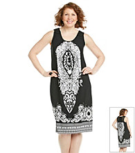 Notations® Plus Size Crochet Back Printed Dress