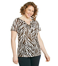 AGB® Plus Size Printed Crinkle Top