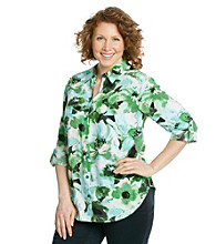AGB® Plus Size Roll-Tab Printed Buttondown Shirt