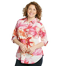 AGB® Plus Size Printed Buttonfront Top