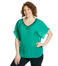 AGB® Plus Size Beaded Top