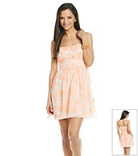 Emerald Sundae® Juniors' Peach Embroidered Floral Party Dress