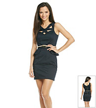 XOXO® Juniors' Belted Peplum Dress
