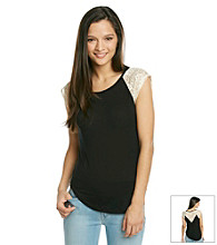 Lily White Juniors' Crochet Back Tee