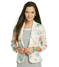 Eyeshadow® Juniors' Mint Floral Cinch Sleeve Blazer