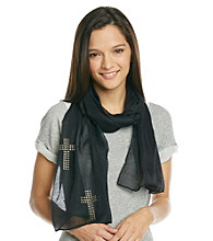 The Accessory Collective Studded Silver Cross Scarf