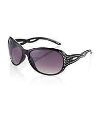 Icon Black Large Lens Sunglasses With Bling Braided Sides