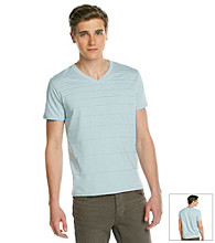DKNY JEANS ® Men's Blue Dust Short Sleeve Variegated Stripe V-Neck Tee