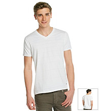 DKNY JEANS® Men's White Short Sleeve Varigated Stripe V-Neck Tee