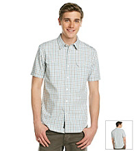 DKNY JEANS® Men's Blue Dust Short Sleeve Heather Check Woven