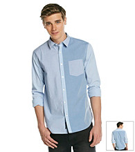 DKNY JEANS® Men's Blue Long Sleeve One-Pocket Colorblock Woven