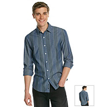 DKNY JEANS® Men's Blue Long Sleeve Chambray Stripe Woven