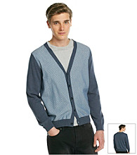 DKNY JEANS® Men's Chambray Blue Long Sleeve Printed Cardigan Sweater