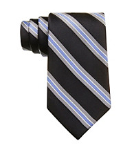 Izod® Men's Black Core Stripe Silk Tie