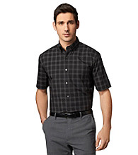 Van Heusen® Men's Black Short Sleeve Checkered Windowpane Woven