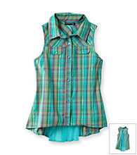 Eyeshadow® Girls' 7-16 Plaid Chiffon Top with Inset Button