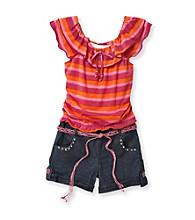 Jolt® Girls' 7-16 Pink Striped Peasant Top Romper with Belt