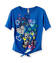Beautees Girls' 7-16 Blue Be Happy Tie Front Screen Tee