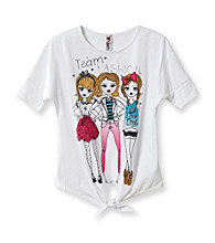 Beautees Girls' 7-16 White Team Fashion Screen Tee