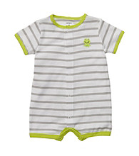 Carter's® Baby Boys' Green/White Striped Frog Romper