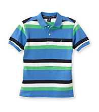Nautica® Boys' 8-20 Blue Short Sleeve Striped Pique Polo