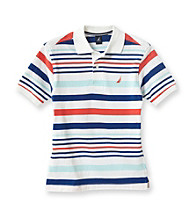 Nautica® Boys' 8-20 White Short Sleeve Striped Pique Polo
