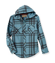 Ruff Hewn Boys' 8-20 Long Sleeve Hooded Plaid Shirt