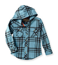 Ruff Hewn Boys' 2T-7 Long Sleeve Hooded Plaid Shirt