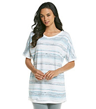 KN Karen Neuburger Inspire Knit Short Sleeve Tunic - Blue Stripe