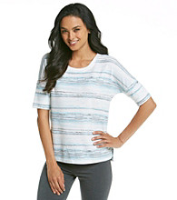 KN Karen Neuburger Inspire Knit Short Sleeve Top - Blue Stripe