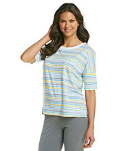 KN Karen Neuburger Inspire Knit Short Sleeve Top - Yellow Stripe