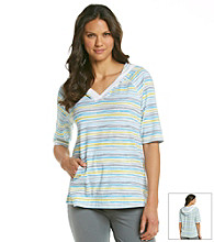 KN Karen Neuburger Inspire Knit Short Sleeve Hoodie - Yellow Stripe