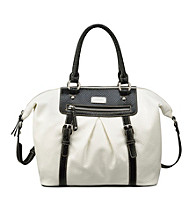 Nine West® White/Black Snake Charmer Large Satchel