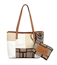 Nine West® Ecru Vegas Signs Patchwork Medium Shopper
