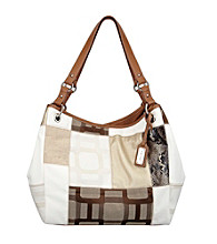 Nine West® Ecru Vegas Signs Patchwork Large Open Tote