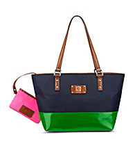 AK Anne Klein® Navy/Saddle/Lawn/Peony Petal Pushers Medium Tote