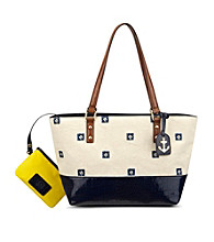 AK Anne Klein® Natural-Navy/Saddle/Navy Petal Pushers Medium Tote